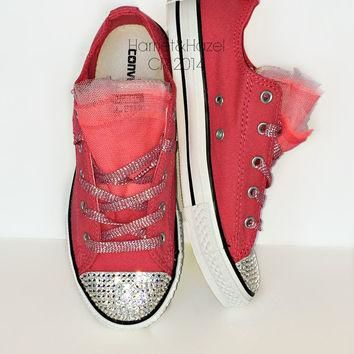 Girls Converse Low top Chucks All Star? in Paradise Pink with 3 colors of tulle and em
