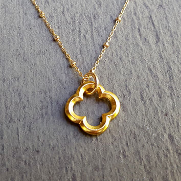 Clover Pendant Gold Filled Tiny Bead Chain Necklace, Clover Jewelry, Quatrefoil Jewelry