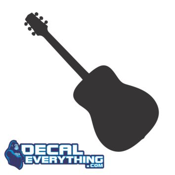 Acoustic Guitar Die Cut Vinyl Decal - Music Decals