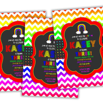 Chevron Rainbow Birthday Party Invitations - Rainbow Chalk Invitation - Girls Birthday Party Invites - Over The Rainbow Birthday Invitations