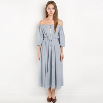 Off Shoulder Tie Waist Pleated Dress