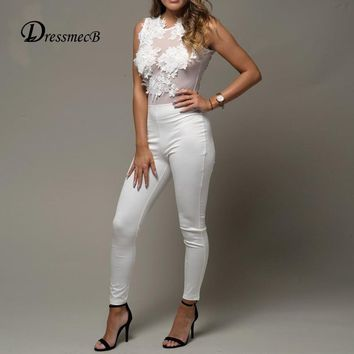 Dressmecb Rompers Womens Jumpsuits Summer High Waist lace Sexy Jumpsuit Women white black overalls