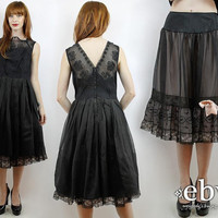 Vintage 50s Sheer Black Party Dress + Slip S M Black Prom Dress 50s Cocktail Dress 50s Party Dress 50s Dress Black Dress 1950s Dress