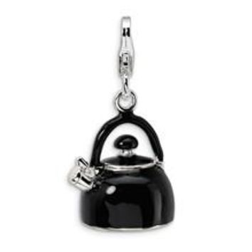 3-D Enameled Black Tea Kettle Charm in Sterling Silver