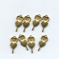 8 double heart charms vintage brass metal gold 9mm x 19mm #supply758