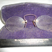 Antique Optician Prescription Eye Spectacles With Metal Purple Velvet Lined Case