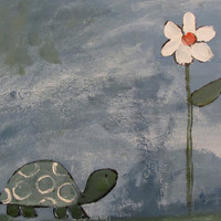Turtle Nursery Art Childrens Painting Kids Artwork by by andralynn