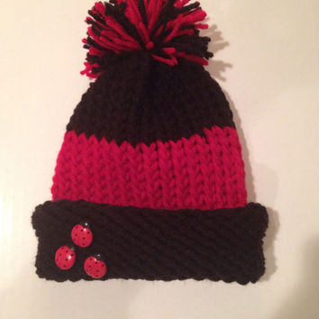 Black And Red Striped Ladubug Knitted Winter Hat