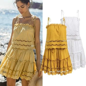Elegant Hollow Out Two 2 Piece Set Women Outfits Sexy Spaghetti Strap Ruffled Female Summer Tops and Skirts Matching Sets