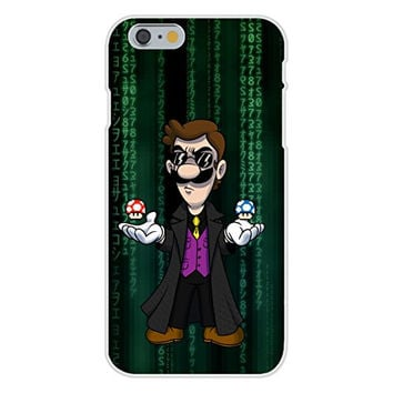 Apple iPhone 6 Custom Case White Plastic Snap On - 'Plumbtrix' Long Coat Character w/ Mushrooms Floating Funny Video Game & Computer Science Fiction Movie Parody