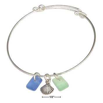 SILVER PLATED GREEN AND BLUE SEA GLASS SCALLOP SHELL BANGLE BRACELET