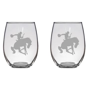 Bucking Horse and Cowboy Engraved Glasses, Equine, Jockey Free Personalization