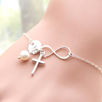 Cross Infinity Bracelet, Pearl Charm, Sterling Silver Eternity, Dainty Bridesmaid Gift, Wedding Jewelry, Mother, Daughter, Friendship