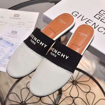 Givenchy 2018 summer new flat flat with Baotou ladies simple slippers F-OMDP-GD White