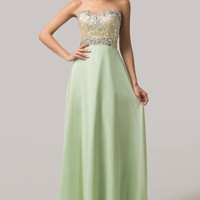 Light Green Strapless Beaded Sequined Maxi Evening Dress