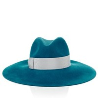Blue Wide Brim Velour Hat | Borsalino | Avenue32