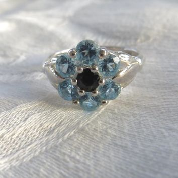 Sterling Blue Topaz Ruby Ring, Vintage Silver Blue Topaz Ring, Ruby Center Stone, Size 10 Ring, Vintage Ring