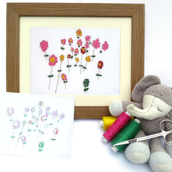 Personalized Kids Wall Decor - Your Childs Drawing Embroidered - Custom Embroidery - Embroidered Art - Gift Idea for Mom - FRAMED artwork
