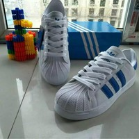 """Adidas"" All-match Fashion Couple  Casual Gold Standard Three Bars Shell Head Plate Shoes  Sneakers Shoes Small White Shoes"