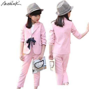 ActhInK New Summer Girls Formal Wedding Bridesmaids Clothing Set Brand Kids Pink Prom Suit with Bowtie for Teen Girls, ZC004