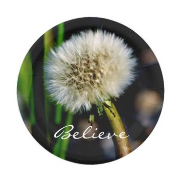 Make a Wish, Believe, Dandelion Paper Plate