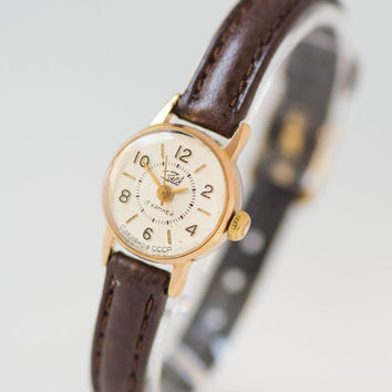 Small gold plated women's watch Zaria\Dawn – micro watch for lady - classy woman watch – 60s retro watch her - new leather strap
