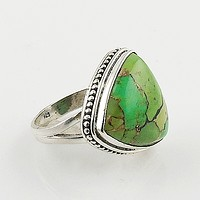 Green Copper Turquoise Trillion Sterling Silver Ring