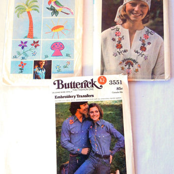 Vintage Embroidery Transfers Lot, Iron On DIY, Hippie Bohemian Flowers, Mushrooms, and More, 70s