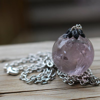 Amethyst crystal ball necklace. Silver statement necklace. Healing crystal necklace. Bohemian jewelry, Wicca jewelry. black tourmaline adorn