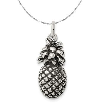 Sterling Silver Antiqued Pineapple Necklace