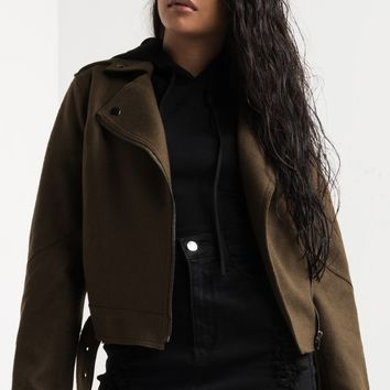 AKIRA Cropped Wool Belted Moto Jacket in Olive