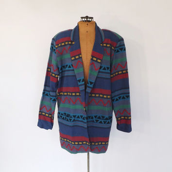 Vintage 1980s  Embroidered Oversized Cotton Blazer Southwestern Jacket Chevron Geometric Print Aztec Tribal Large Fall Coat
