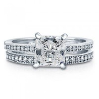 Princess Cut Clear Cubic Zirconia CZ 925 Sterling Silver Bridal Ring Set 1.96 Carat #vr017