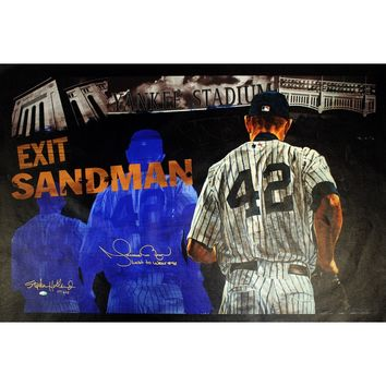 Mariano Rivera Signed Stephen Holland Exit Sandman Giclee 25x44 Canvas w Last To Wear 42 Insc. (LE NYY of 42)