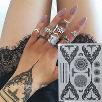 Pretty Temporary Black Henna Tattoos Waterproof Women Body Tattoo Stickers