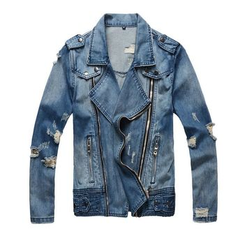 Trendy MORUANCLE Fashion Ripped Jeans Jackets Fashion Streetwear Distressed Denim Jacket With Multi Zipper AT_94_13