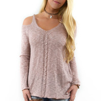 Castle Rock Dusty Rose Cold Shoulder Sweater Top