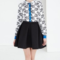 Monochrome & Blue Peacock Long Sleeve Shirt | Shirts