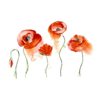 Original Watercolor Painting 13x19  Flower Poppy Fine Art