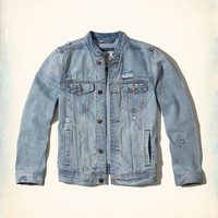 Guys Banded Collar Denim Jacket | Guys Jackets & Outerwear | HollisterCo.com