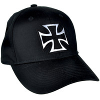 Black and Silver Iron Cross Hat Baseball Cap Occult Alternative Clothing