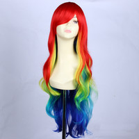 32inch Cheap synthetic multi color Ombre Rainbow wig cosplay for costume party, long curly wig lolita with bang for black women