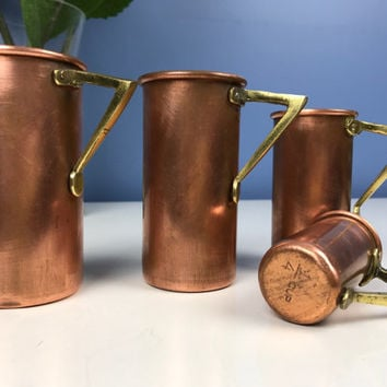 Vintage Copper Measuring Cups Brass Handles Tinned Tin Lined Copper Kitchen Tools Utensils Farmhouse Decor Rustic Decor Farmhouse Kitchen