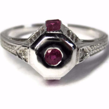 Antique Art Deco 9K White Gold Ruby Diamond Wheat Ruby Engagement Ring Size 6.5