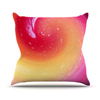 "Infinite Spray Art ""Spacewave"" Orange Red Outdoor Throw Pillow"