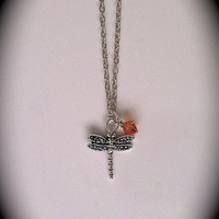 Dragonfly in Amber Crystal Pendant, Outlander Inspired, Sassenach, Teen Necklace, Celtic, Junior Bridesmaids Gift