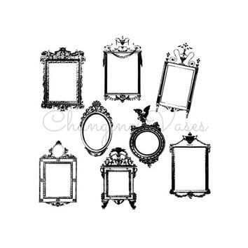 8 Digital Black Victorian Frames Clipart Clip Art Border Decorative Ornate Flourish Vintage Wedding ClipArt Clip Art Scrapbook Embellishment