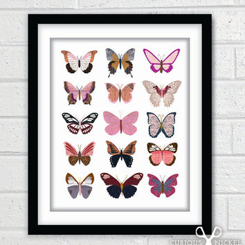 Collage of Pink Butterflies - Digital Art Collage Poster Print - 8x10