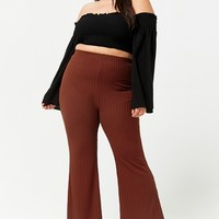 Plus Size Ribbed Flare Pants