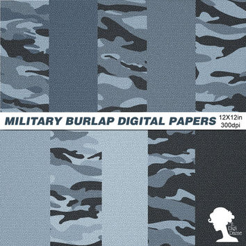 Digital Papers: INSTANT DOWNLOAD Military Camouflage Blue Burlap for Scrapbooking